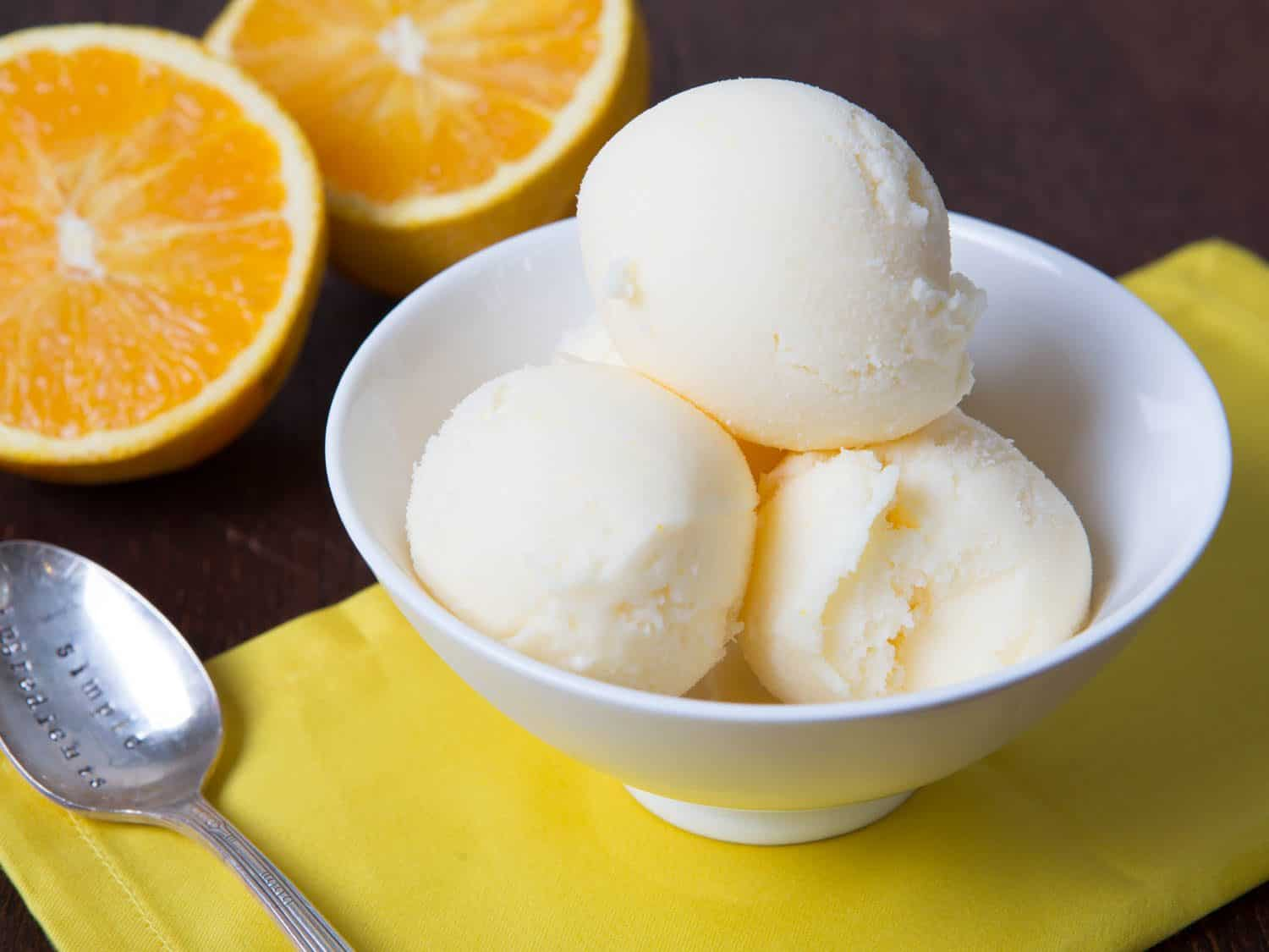 Homemade orange creamsicle frozen yogurt