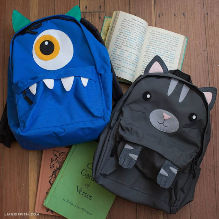 Kids' monster and cat backpacks
