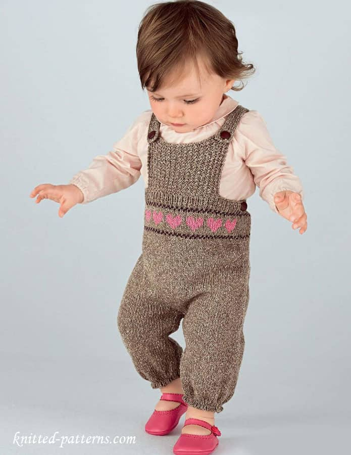 Knitted baby girls' dungarees