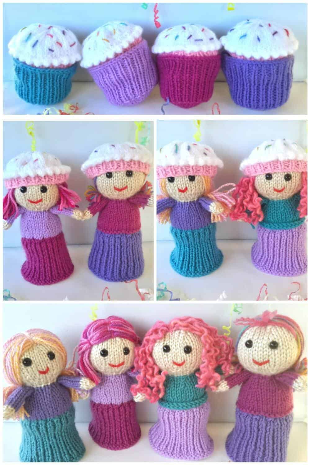 Knitted cupcake dolls