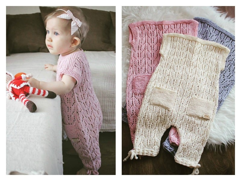 Lacy romper suit with pockets and ties