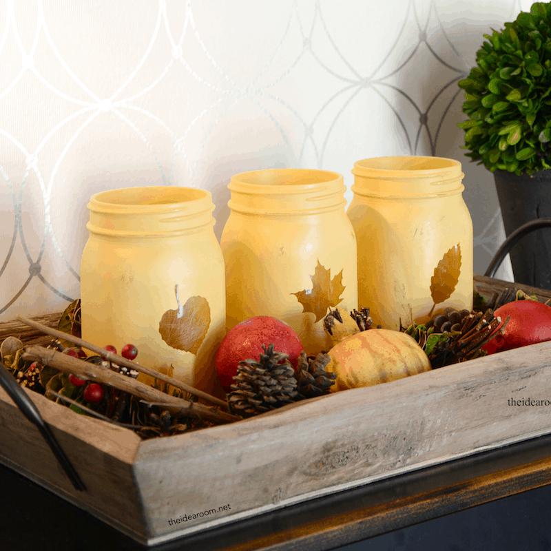 Leaf themed painted mason jars