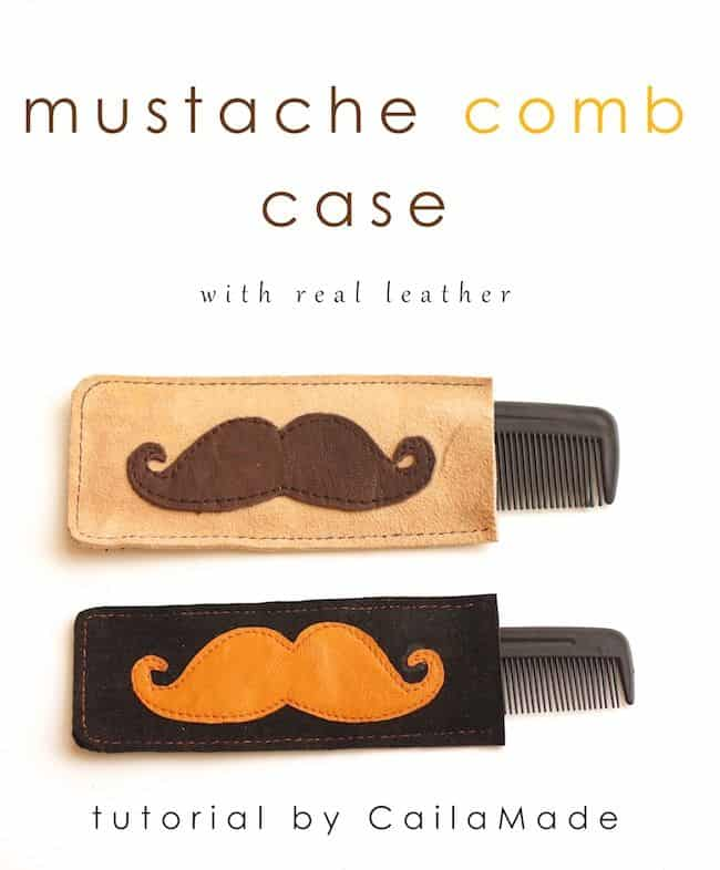 Leather moustache comb case