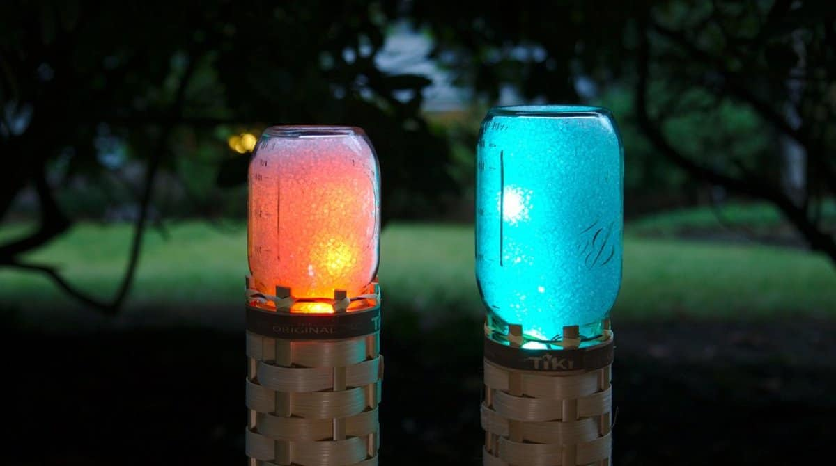 Mason jar led light glowing torches