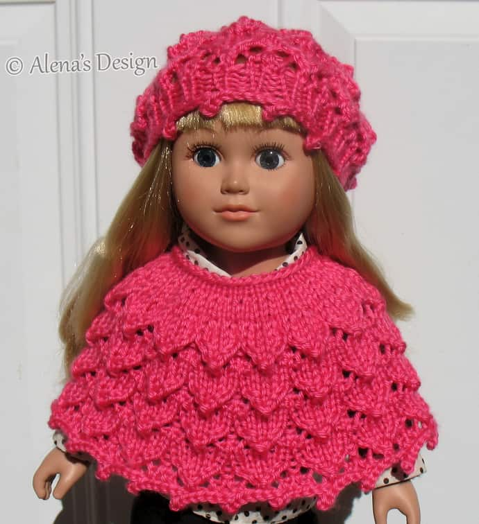 Matching textured beret and poncho