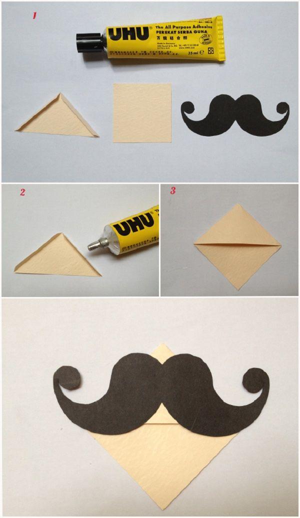Moustache bookmark corner