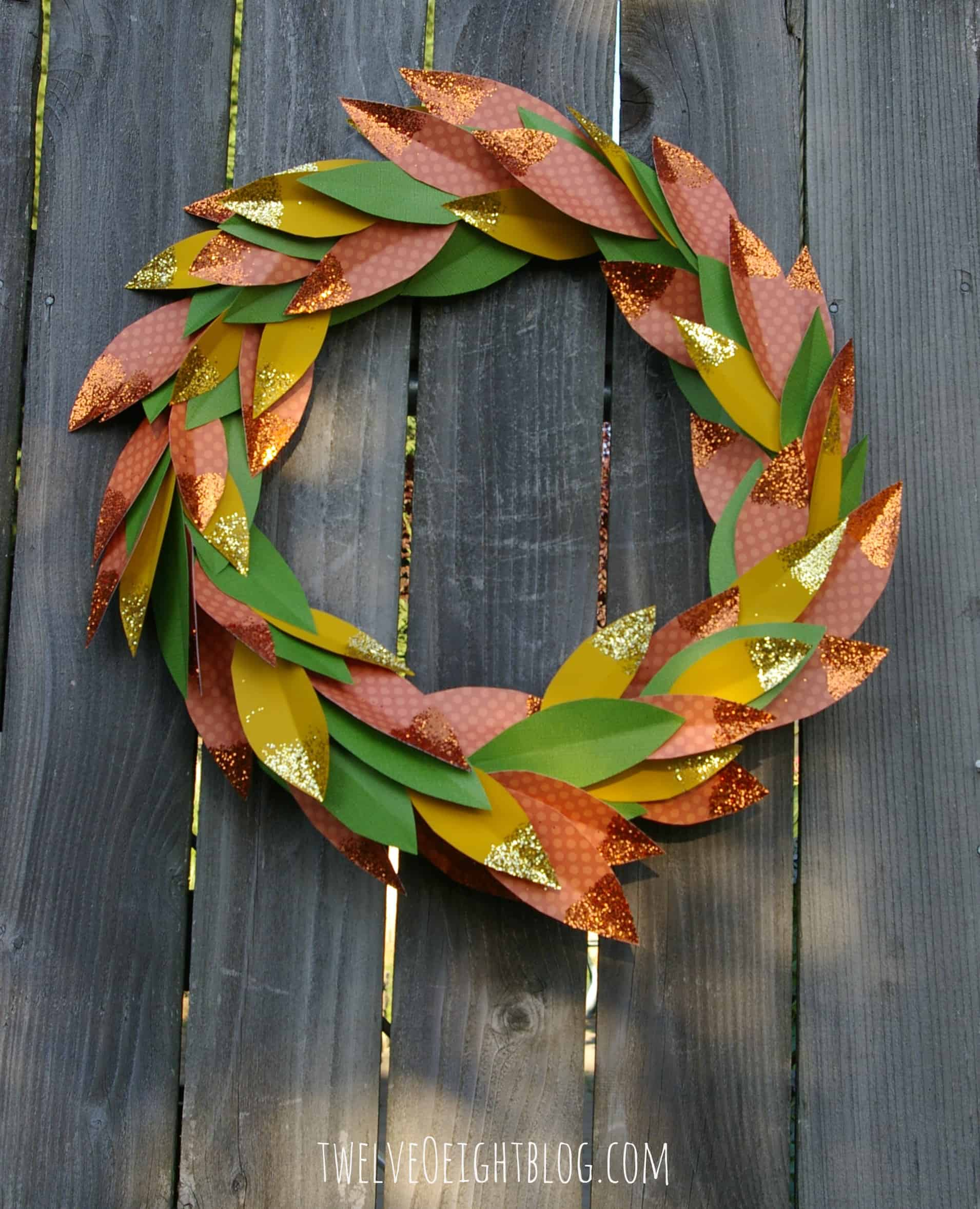 Paper and glitter fall wreath