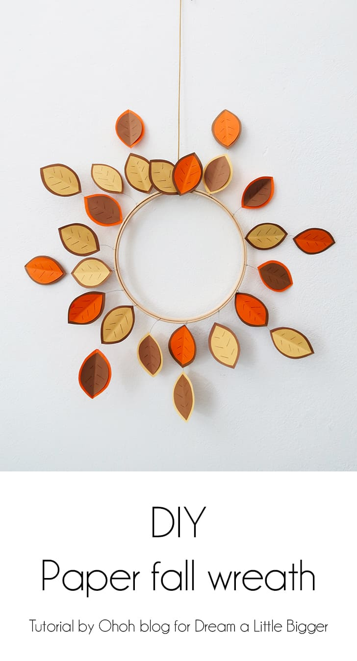 Paper, embroidery hoop, and wire fall wreath