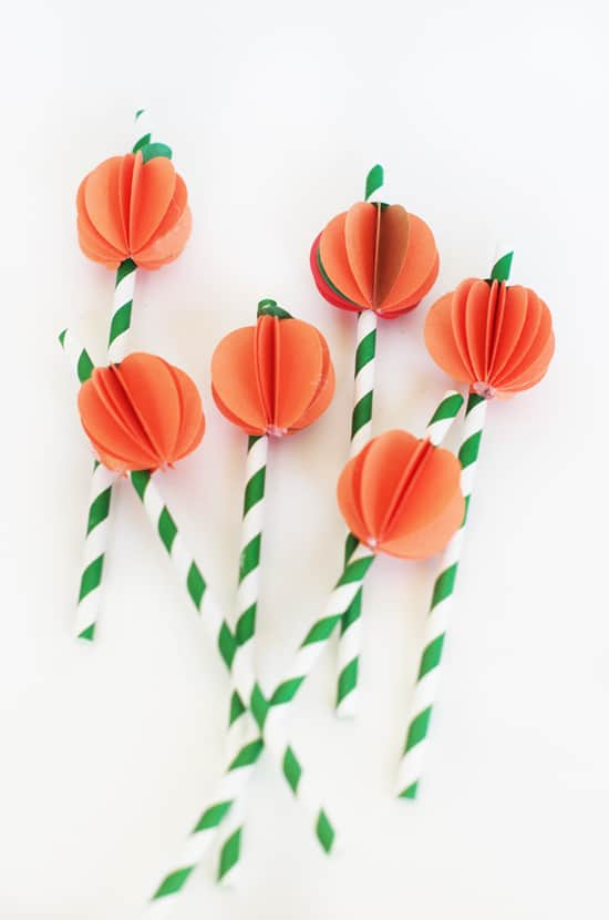 Paper pumpkin straw toppers