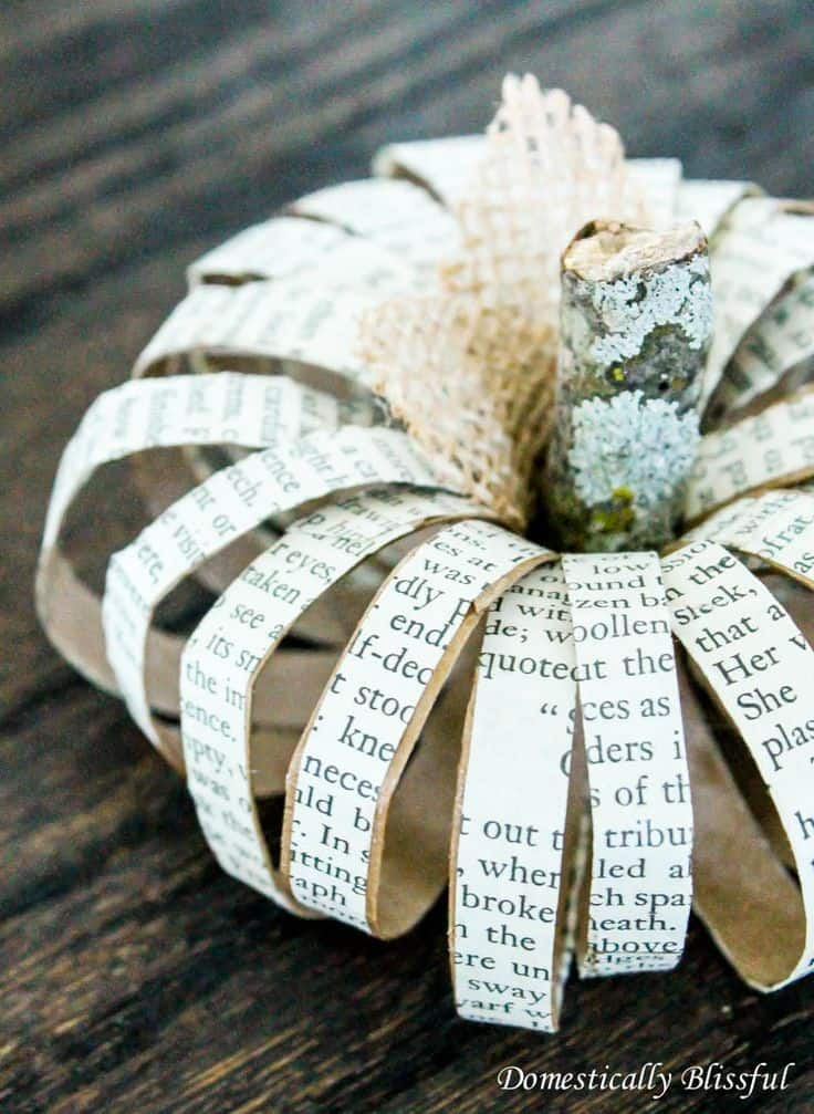 Paper roll pumpkin with old book pages