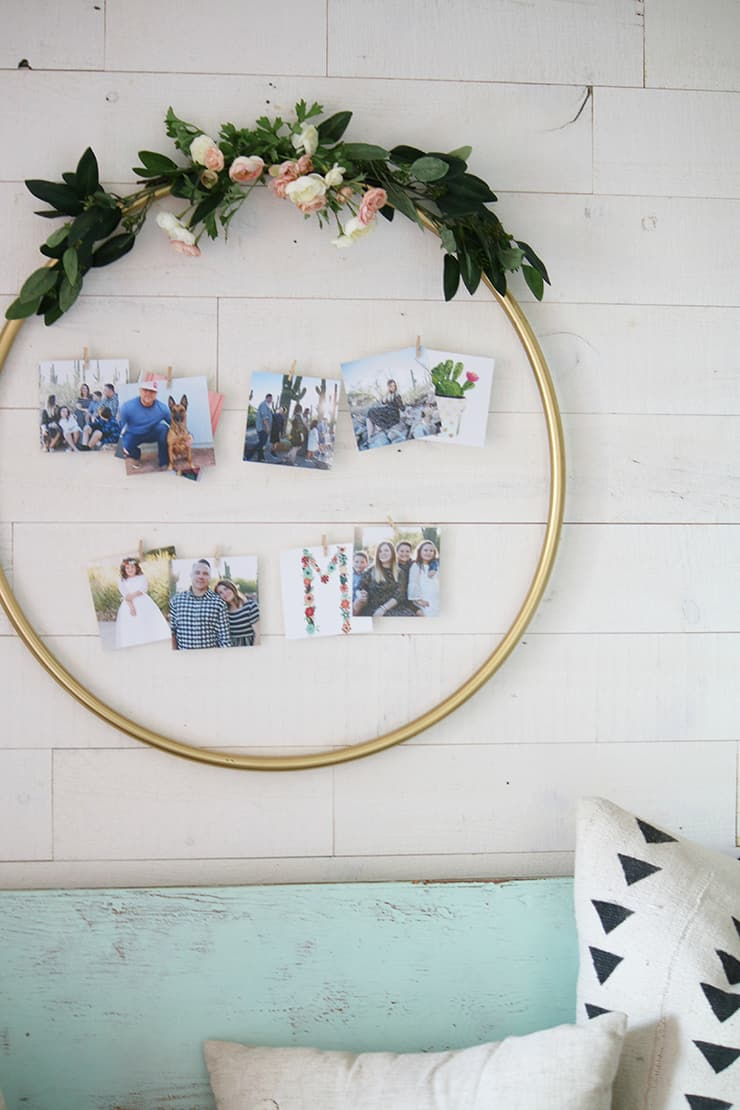 Photo line inside a hoop wreath