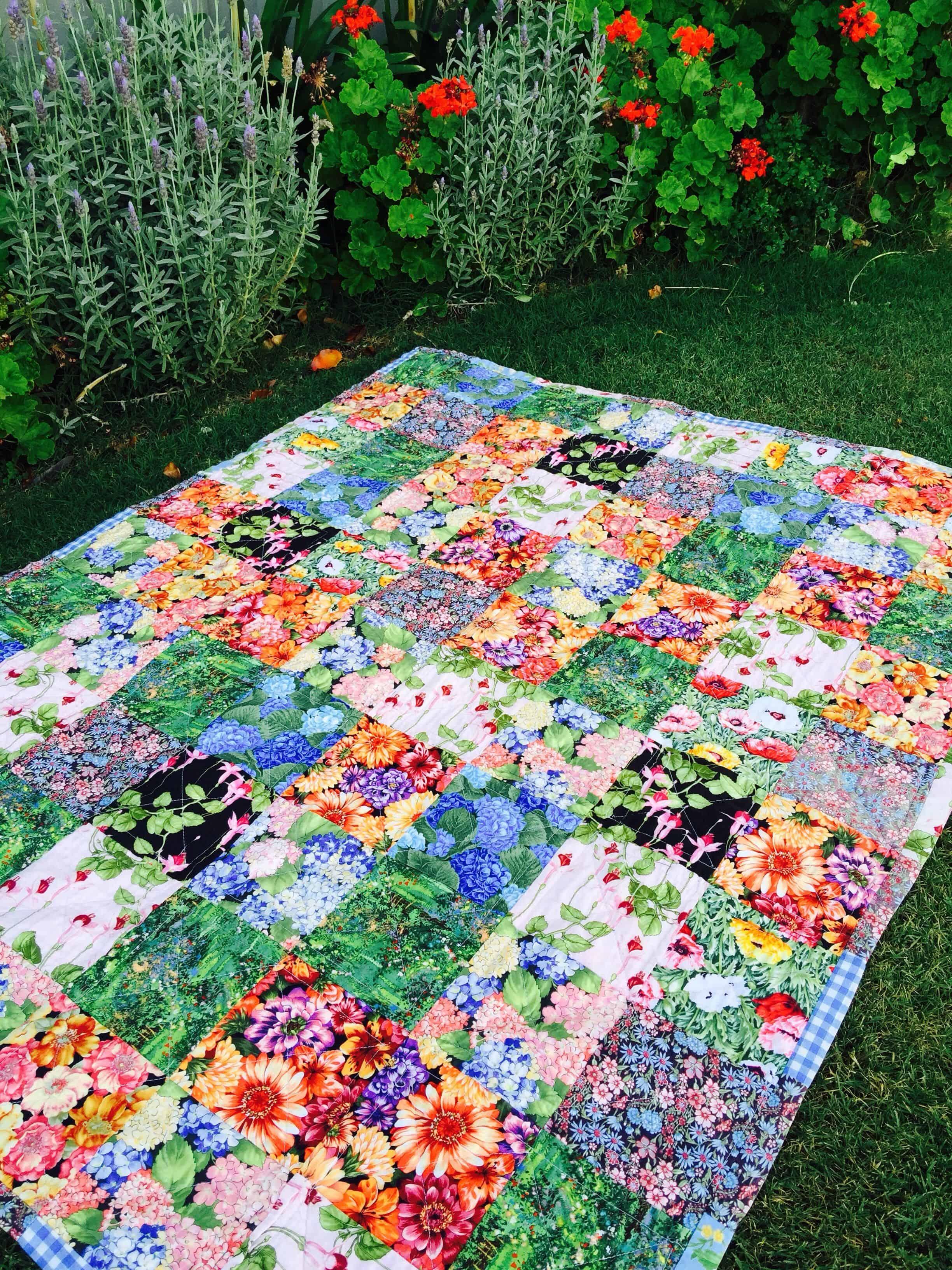 Pretty garden lap quilt
