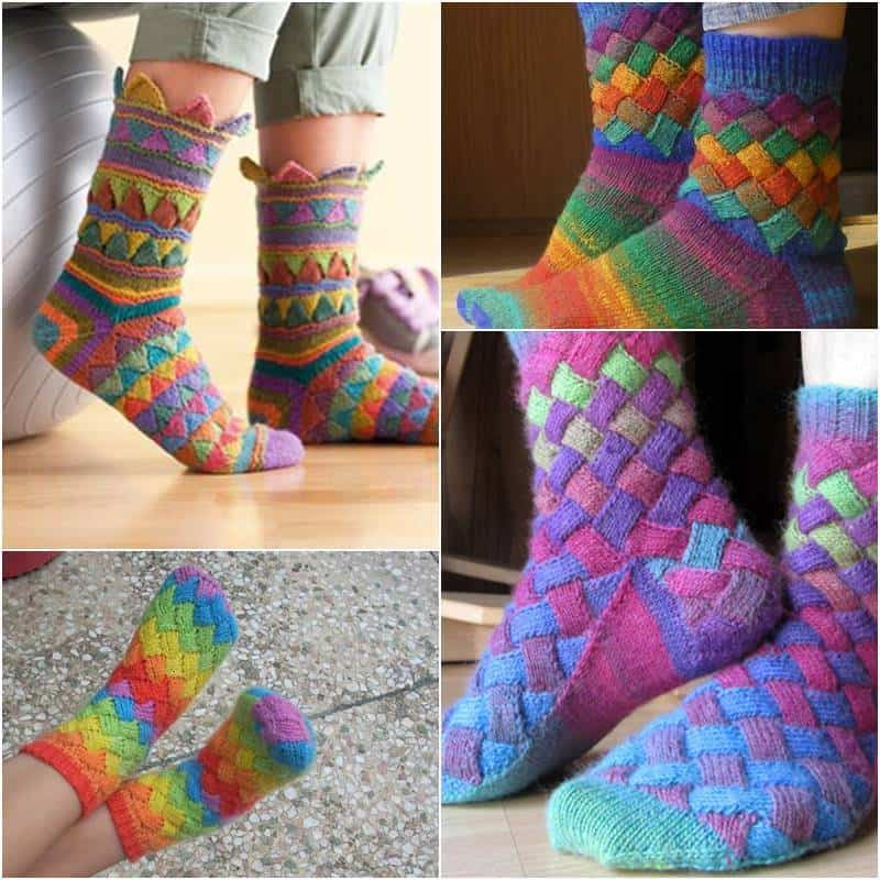 Rainbow colour patch entrelac socks