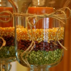 Seed and candle filled vases