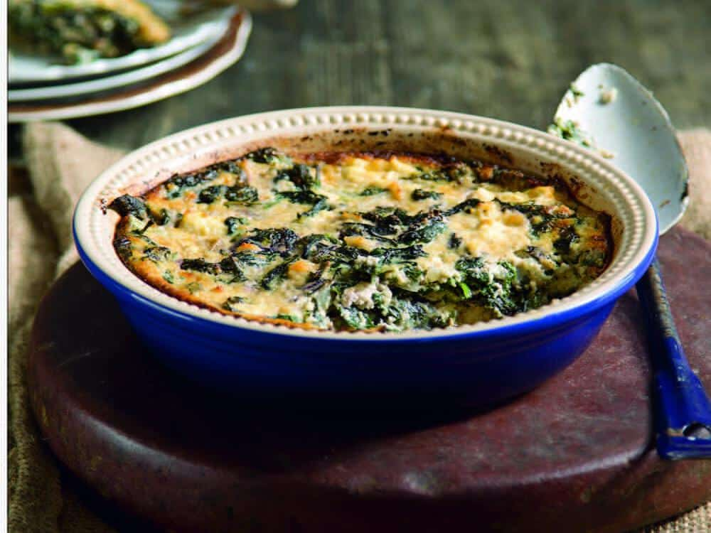 Spinach, mustard greens, and baked ricotta cheese