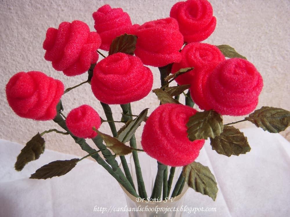 Sponge rosebud flowers