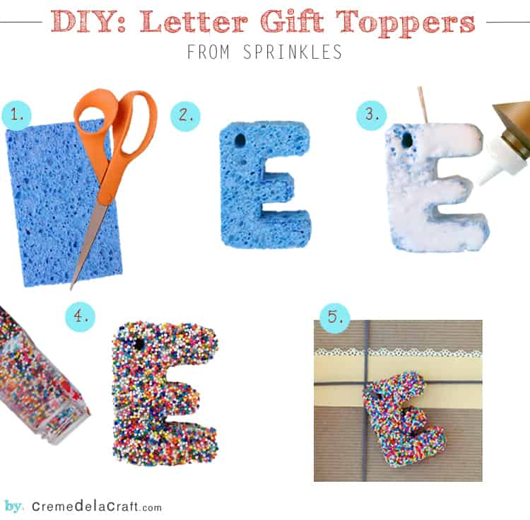 Sprinkled gift topper letters from sponges