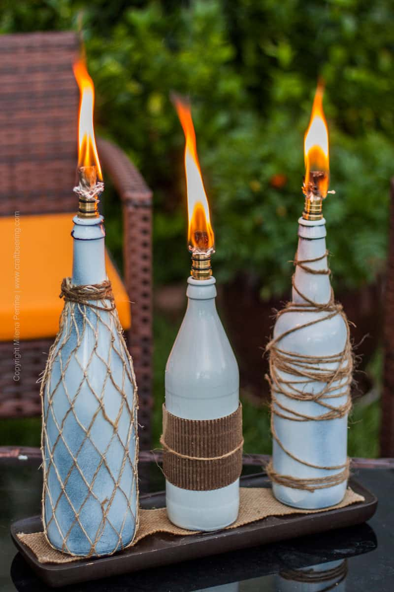 String wrapped beach bottle torches
