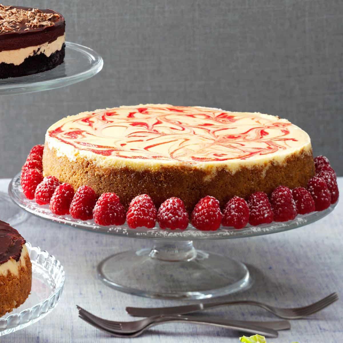 Swirled raspberry and white chocolate cheesecake