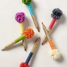 Thread wrapped pom pom pens