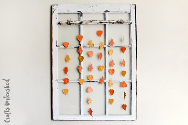 Upcycled rustic window and paper leaf hangings