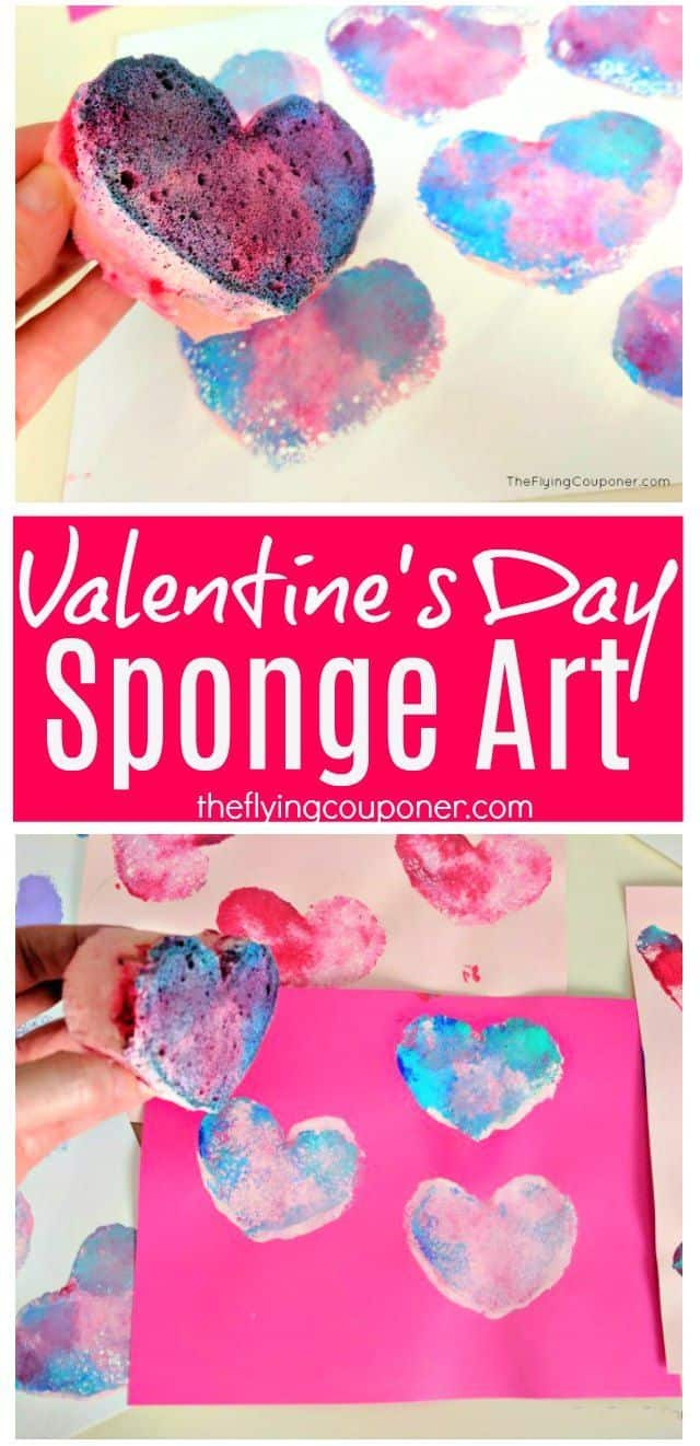Valentine's day art with shape cut sponge camps