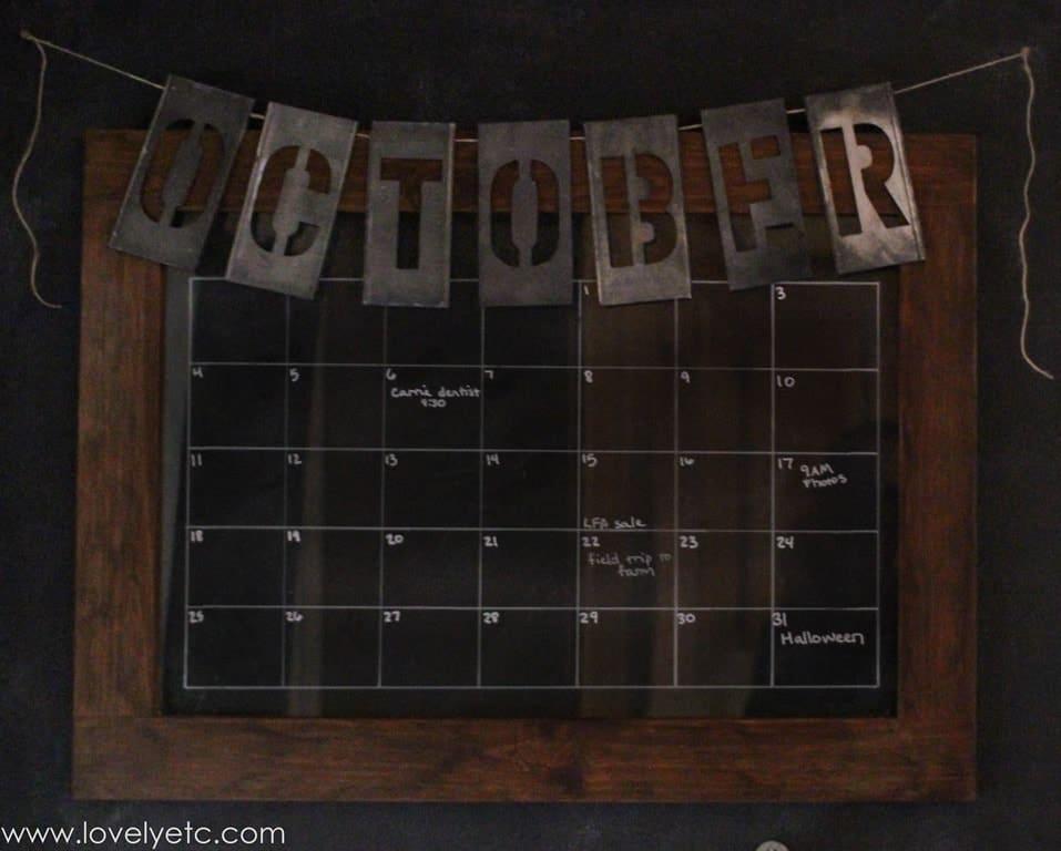 Vintage metal stencil monthly chalkboard calendar