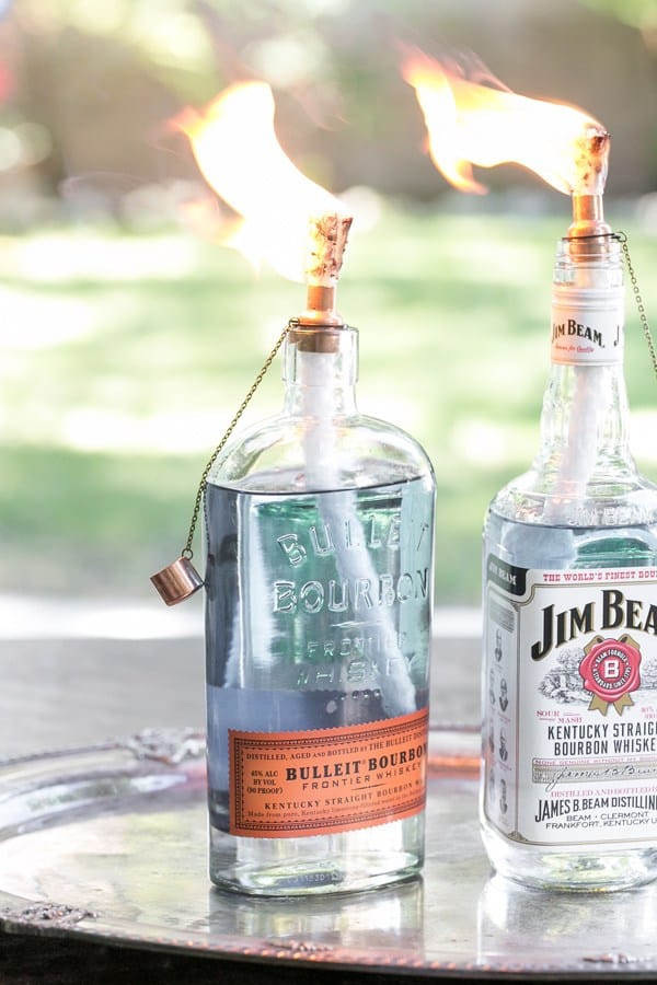 Whiskey bottle torches