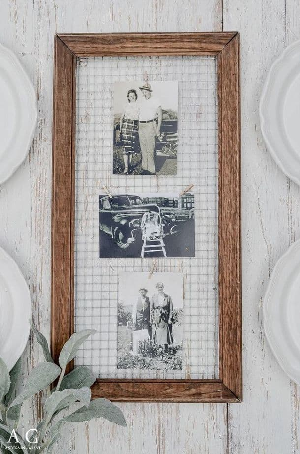 Wood framed mesh mounted photos