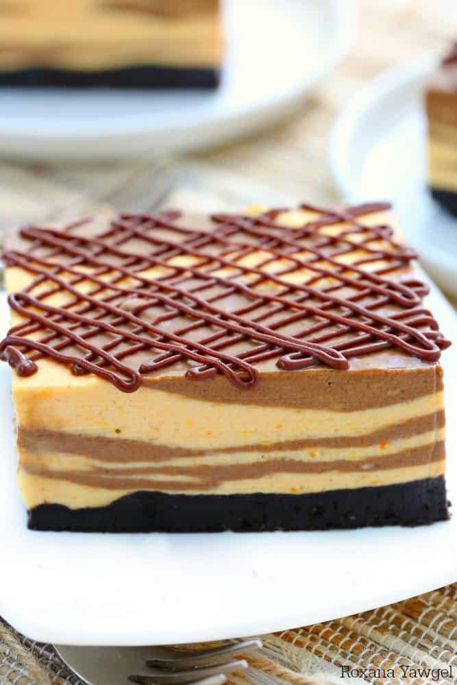 Marble no bake chocolate pumpkin cheesecake recipe 3