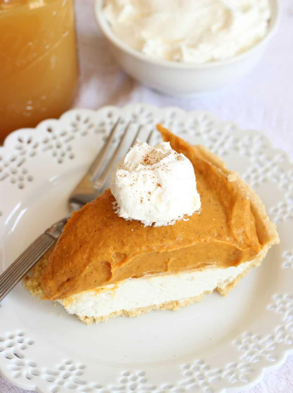 No bake double layer pumpkin pie with shortbread crust 1 19