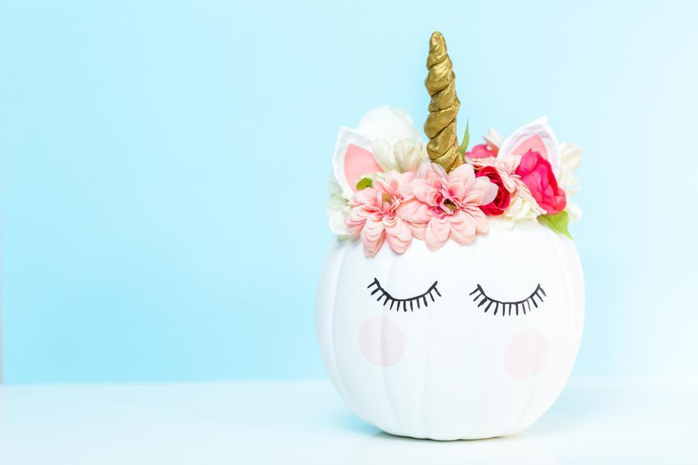 Creative pumpkin decorating ideas cute unicorn
