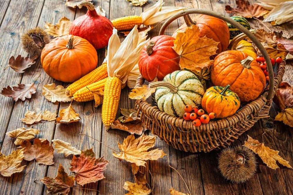 Fall pumpkin decor autumn basket