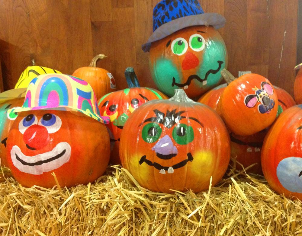 No carve pumpkin decorating ideas silly pumpkin clowns