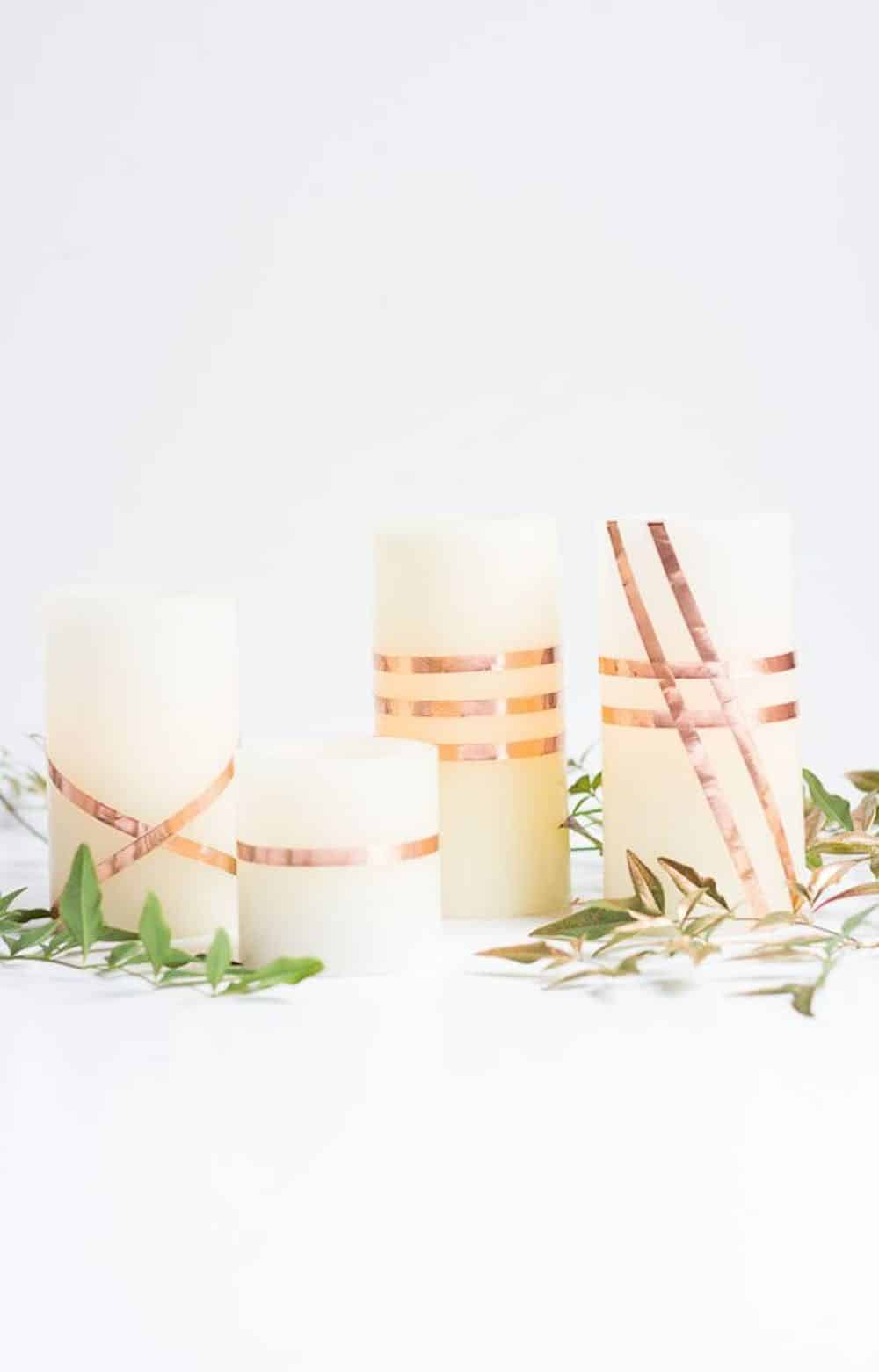 Copper wrapped candles diy