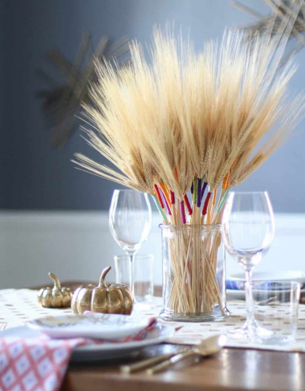 Diy color wrapped wheat centerpiece