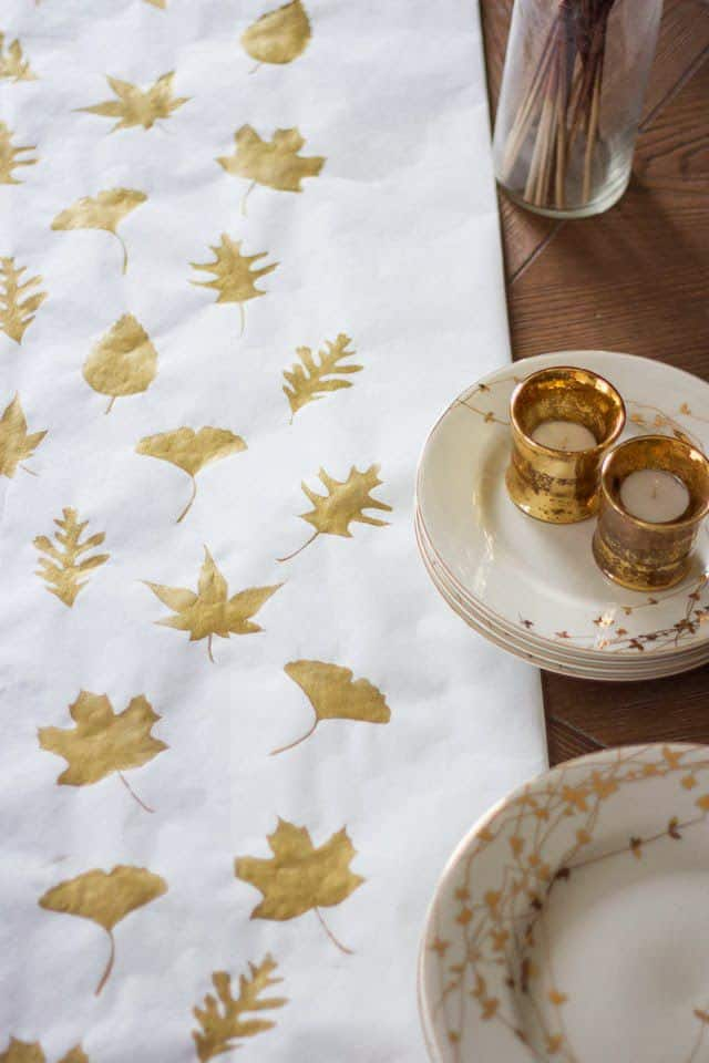 Diy gold leafs table runner