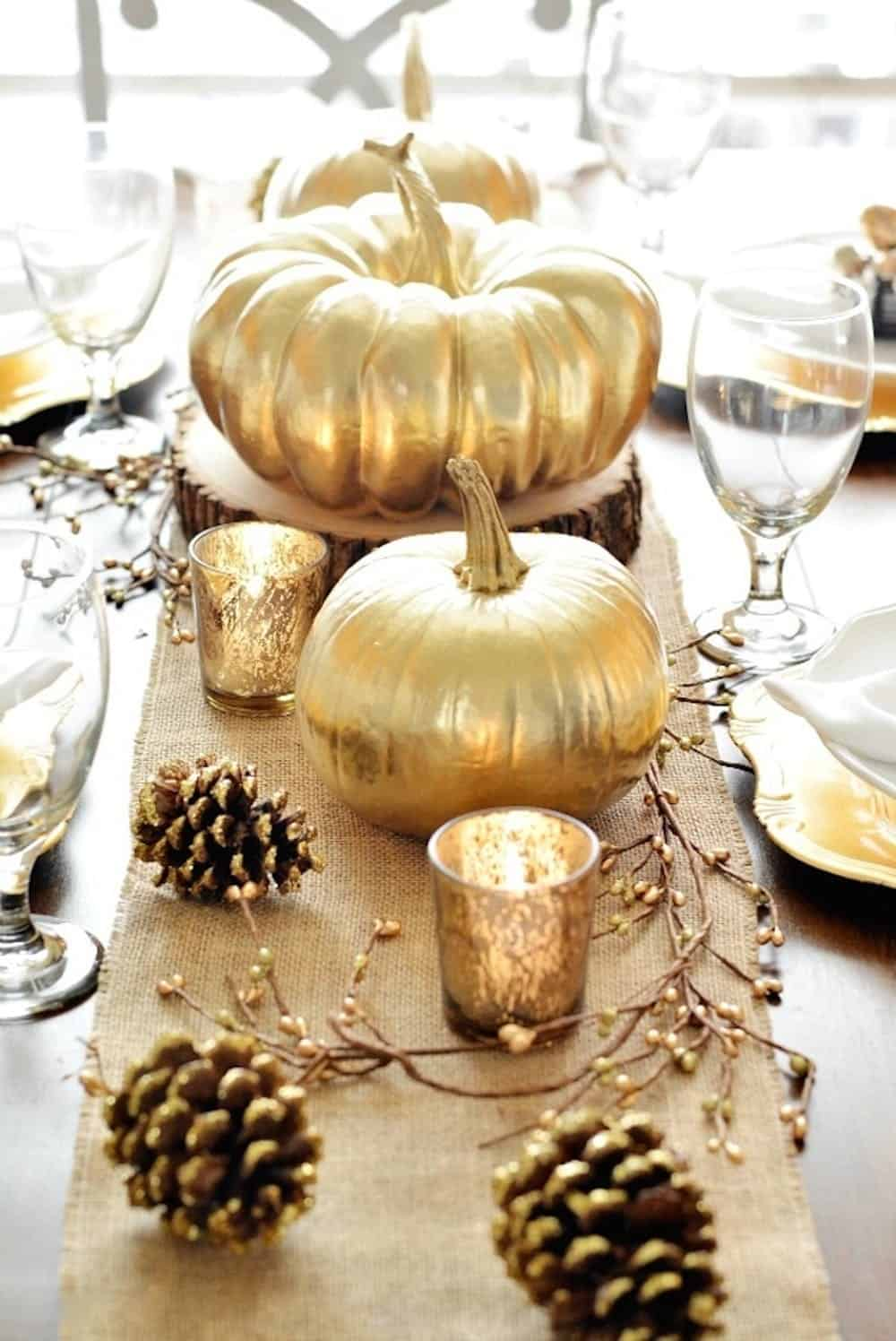 Diy golden centerpieces thanksgiving
