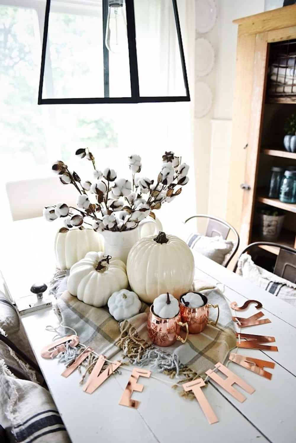 Neutral and copper diy centerpiece