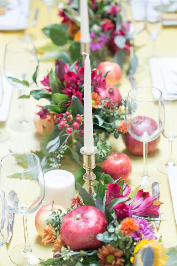 Pomegranates and greenery diy centerpiece