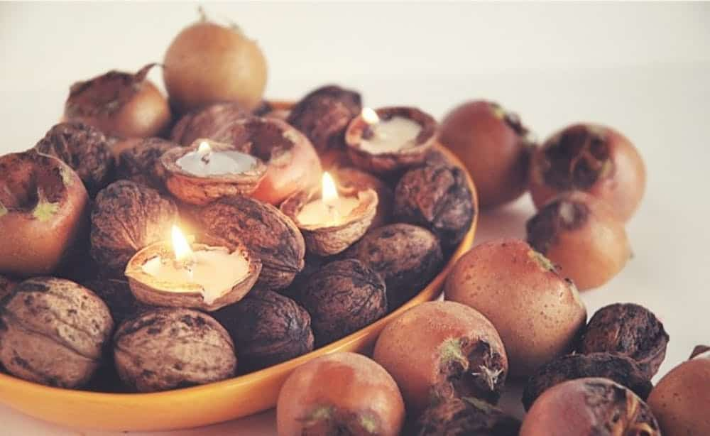 Tealight nuts fall centerpiece diy