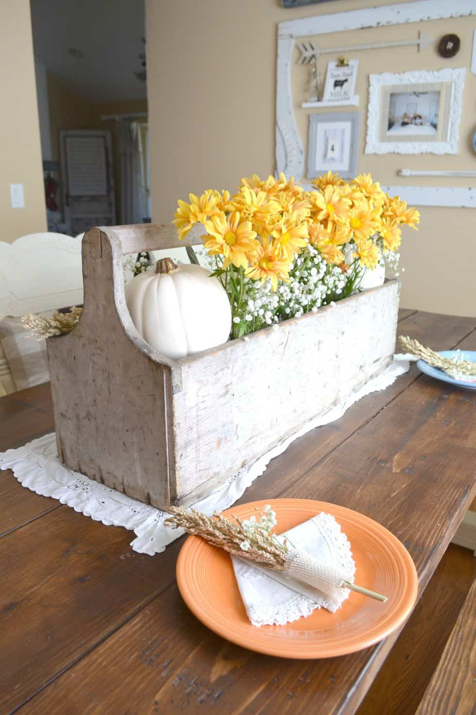 Wooden antique box fall centerpiece diy