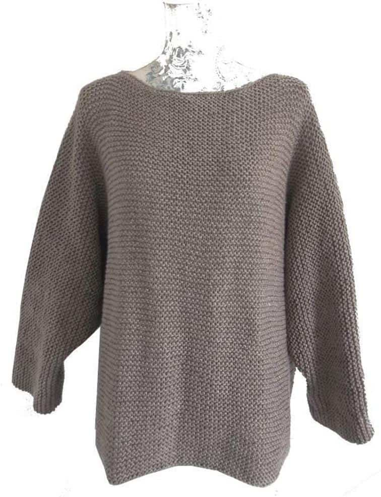 Aran garter stitch sweater