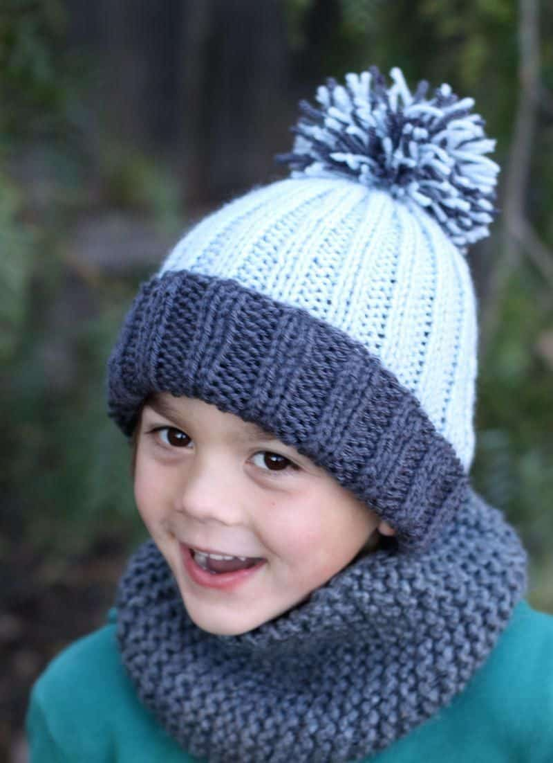 Beginner easy ribbed pom hat