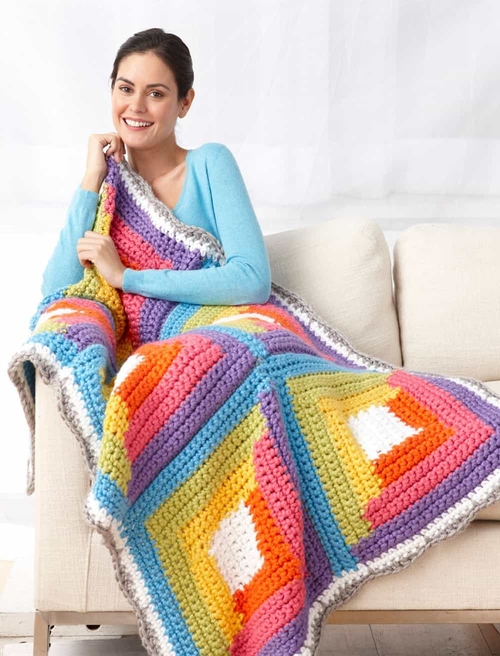 Bright log cabin blanket
