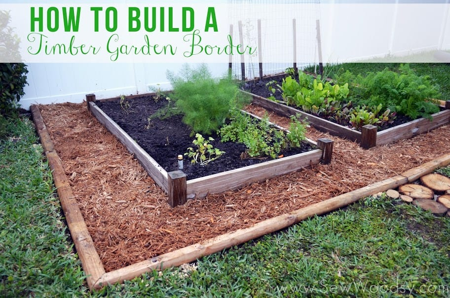 Build a timber garden border to keep out weeds