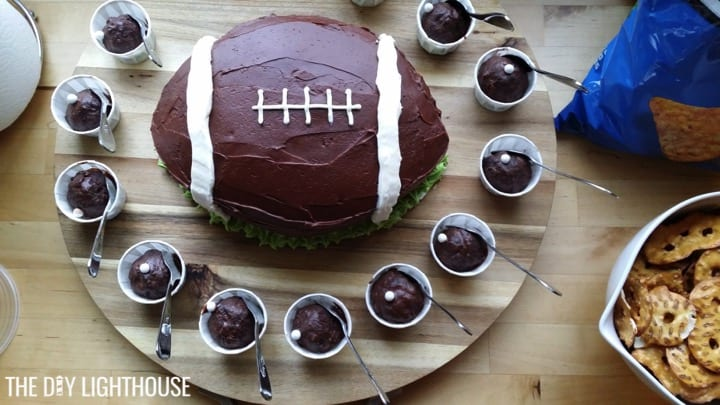 Carved football cake with extra cake ball
