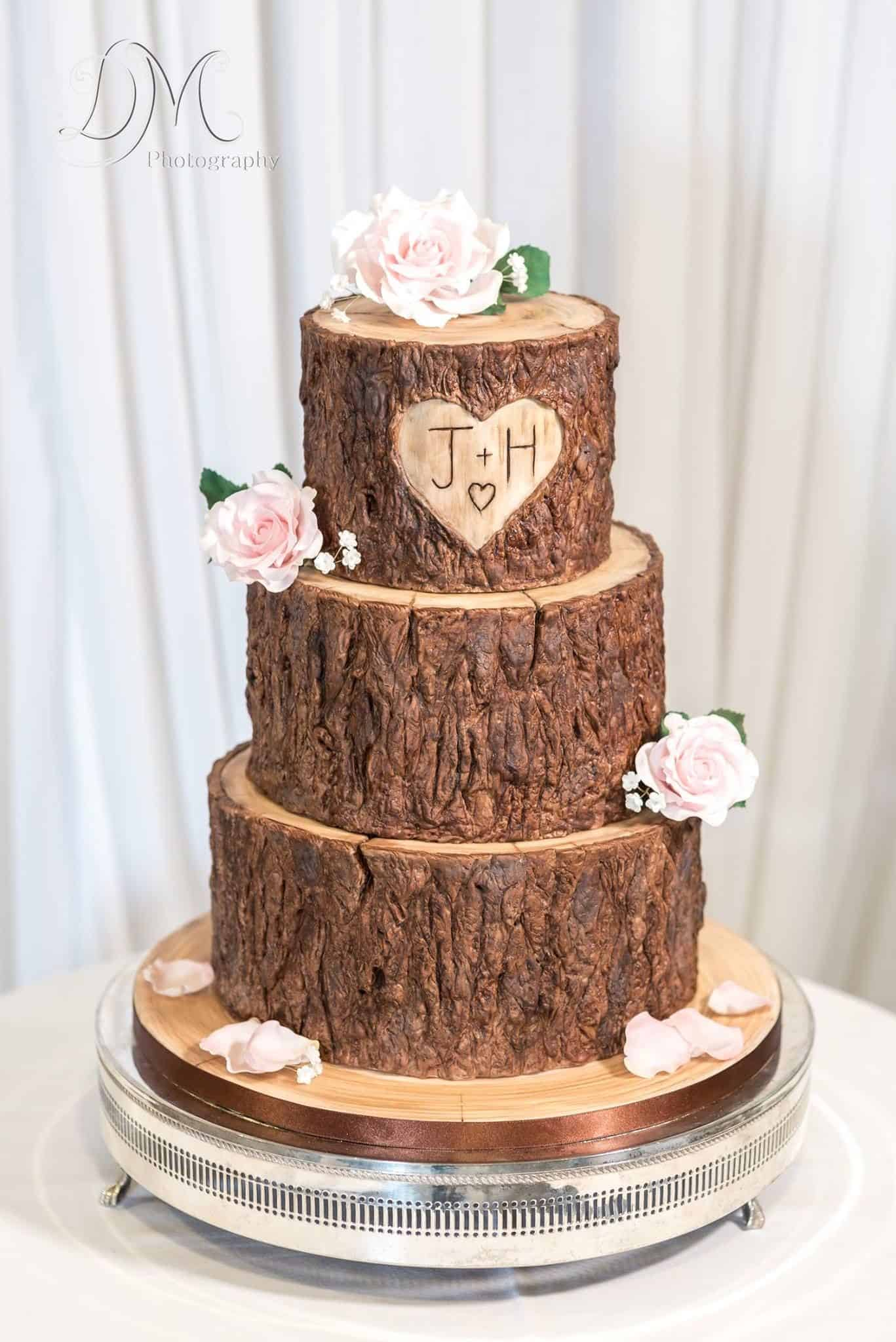 Carved initials cake
