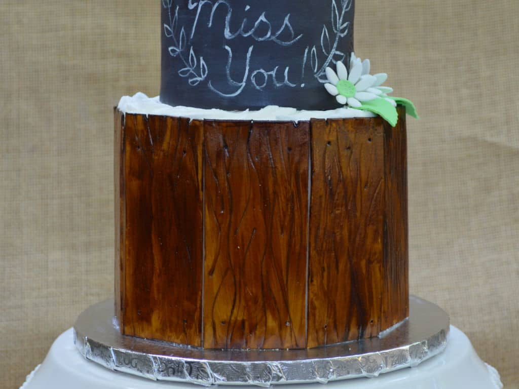 Chalkboard and wood cake