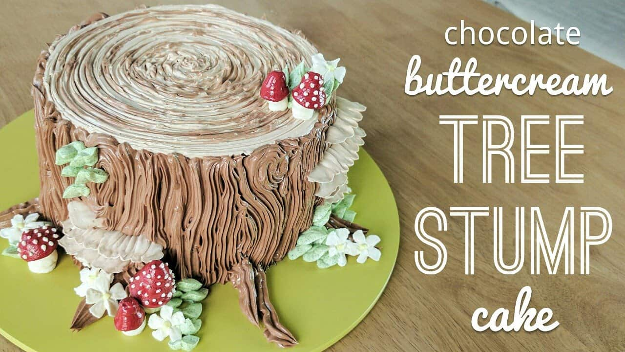 Chocolate buttercream tree stump cake
